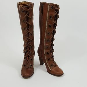 Seychelles Brown Leather Boots Tall Knee High Heel